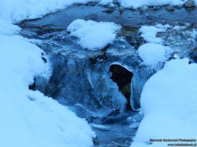 Zamarzający potok w Dolinie Białego